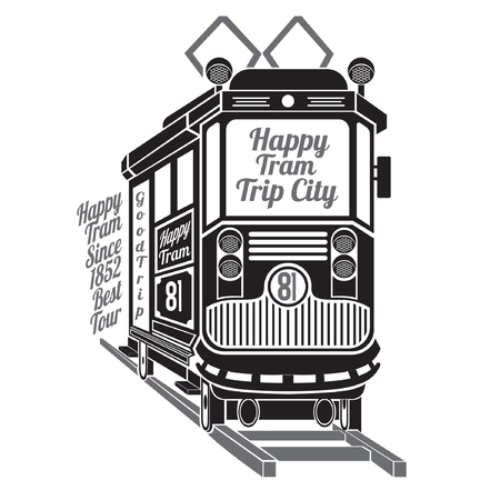Silhouette of old tram with text happy tram trip city isolated on white