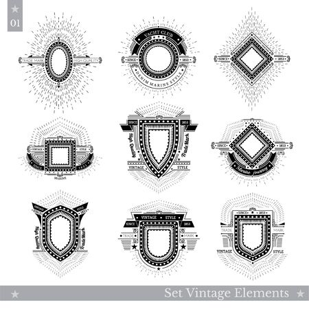 shield set: Set of different geometric shields with light ray. Hipster style templates for business signs, labels, logos, identity, badges, apparel, shirts, stickers and other branding objects. Illustration