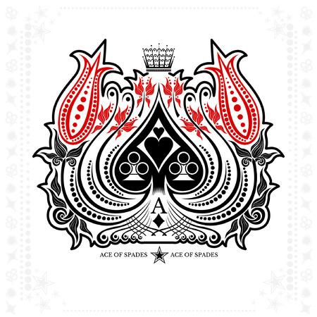 Ace of spades in Blumen Kranz isoliert auf weiß Standard-Bild - 58122924