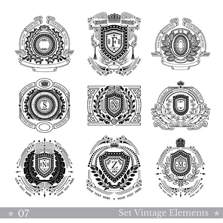 curle: Set of different geometric shields with wreaths. Hipster vintage style templates for business, labels, logos, identity, badges, apparel, shirts, and other branding objects Illustration