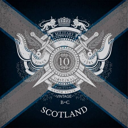 Round Shield And Cross Swords With Ribbons and Lion. Military Heraldic Label on Scotland Flag Background. Brand or T-shirt style
