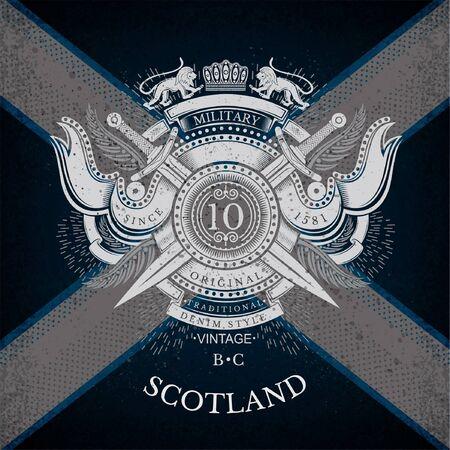 Rundschild und Kreuz-Klinge mit Bändern und Lion. Militärwappen Etikett auf Schottland-Flagge Hintergrund. Marke oder T-Shirt-Stil