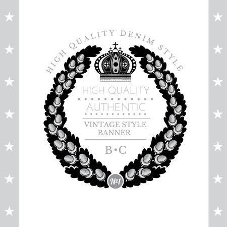oak wreath: Abstract Round Wreath From Oak Branch. Vintage Label With Coat of Arms Isolated On White