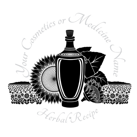 sunflower oil: Black engraving label for food or cosmetics isolated on white. Glass bottle of sunflower oil with field and flower Illustration