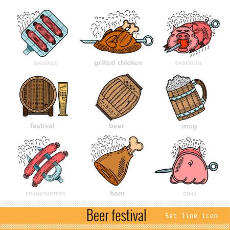 bbq barrel: Set of Color Beer Festival Outline Web Icon