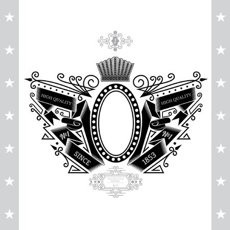 white coat: Oval Frame Between Line Pattern And Winding Ribbons. Vintage Label With Coat of Arms Isolated On White