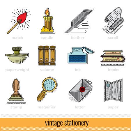 Set of color Outline Web Icon. Vintage Stationery Illustration