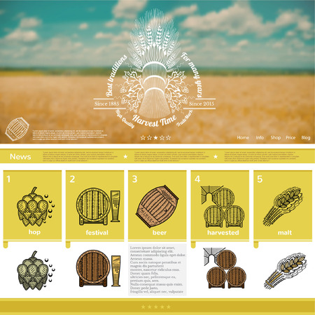 barley field: Beer making website page template on yellow barley field blurred background