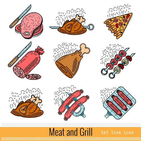 grates: Set of Color Outline Web Icon. Meat Grill BBQ