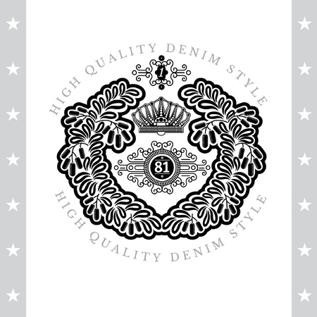 white coat: Crown Inside Of Abstract Round Wreath From Barberry. Vintage Label With Coat of Arms Isolated On White