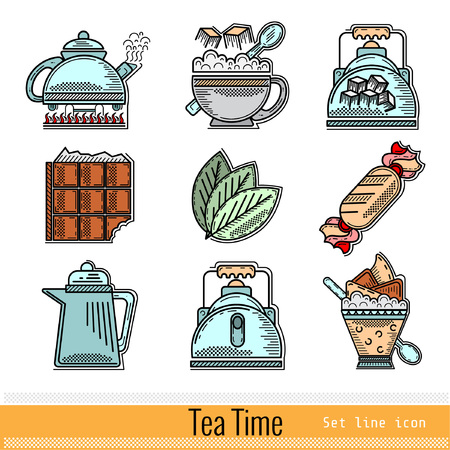 sugarbowl: Set of Color Outline Web Icon. Tea Time