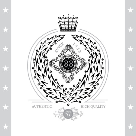 white coat: Abstract Wreath With Leaves And Berries. Vintage Label With Coat of Arms Isolated On White