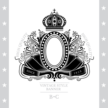 white coat: Oval Frame On The Winding Ribbons Between Line Pattern. Vintage Label With Coat of Arms Isolated On White