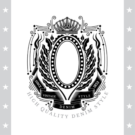 olive wreath: Oval Frame Between Line Pattern And Laurel Or Olive Wreath. Vintage Label With Coat of Arms Isolated On White