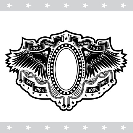 white coat: Oval Frame Between Wings And Winding Ribbons. Vintage Label With Coat of Arms Isolated On White