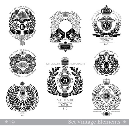 white coat: Set Of Floral Wreath. Vintage Banners With Coat of Arms Isolated On White Illustration