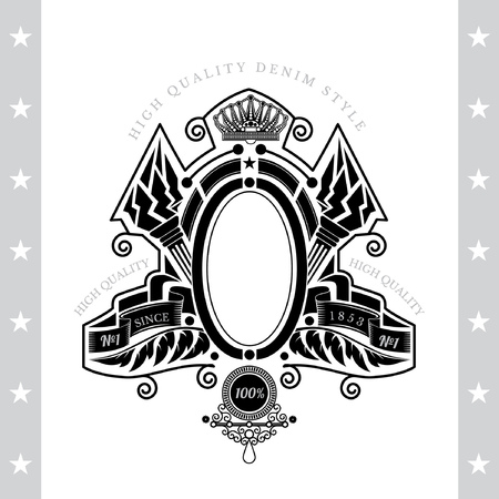white coat: Oval Frame Between Riboons And Cross Torch. Vintage Label With Coat of Arms Isolated On White