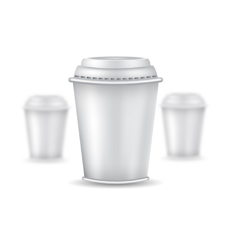 depth: Three realistic mock up coffee or tea plastic cup with cap on white background. Vector illustration one cup sharp and two cups depth of field