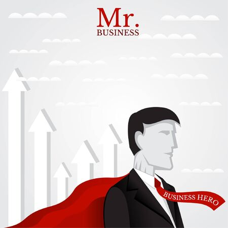 deposite: Business Flat  Illustration. Man With His Red Super Cloak Near Up Arrows