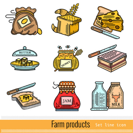 ferm: Set of Color Outline Web Icon. Farm products