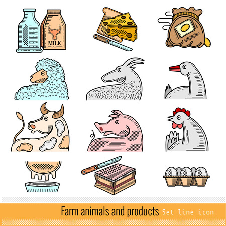 ferm: Set of Color Outline Web Icon. Domestic animals and products