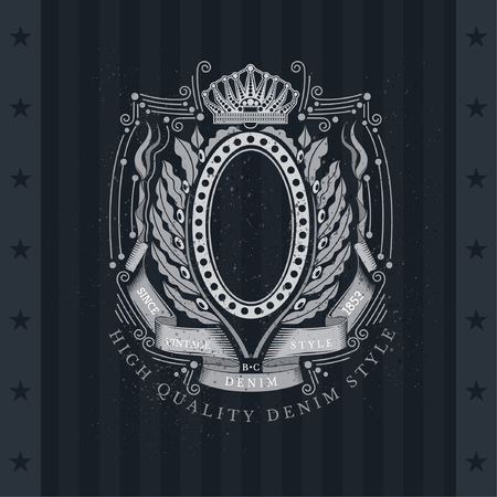 olive wreath: Oval Frame Between Line Pattern And Laurel Or Olive Wreath. Vintage Label With Coat of Arms On Blackboard