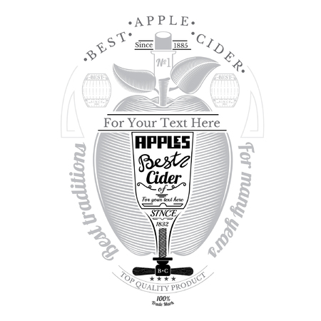 cider: Engraving style apple with glass and corkscrew for text in the center. Cider label isolated on white