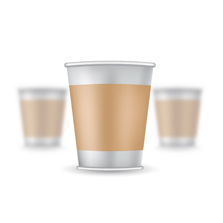 Three realistic mock up coffee or tea plastic cup on white background. Vector illustration one cup sharp and two cups depth of field