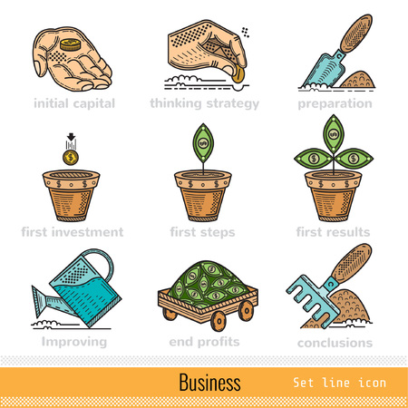 conclusions: Set of All Steps of Busines Outline Color Web Icons Illustration