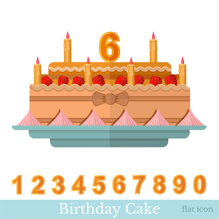 numbers icon: Flat icon birthday cake with candle and numbers on white