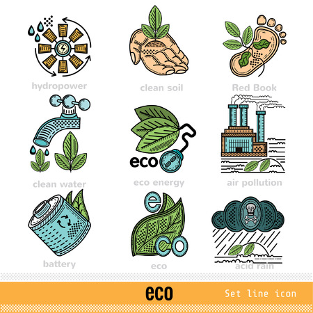 kwaśne deszcze: Set of Eco Problems and Decision Outline Color Web Icons Ilustracja