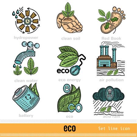 kwaśne deszcze: Set of Eco Problems and Decision Outline Color Web Icons Ilustracja