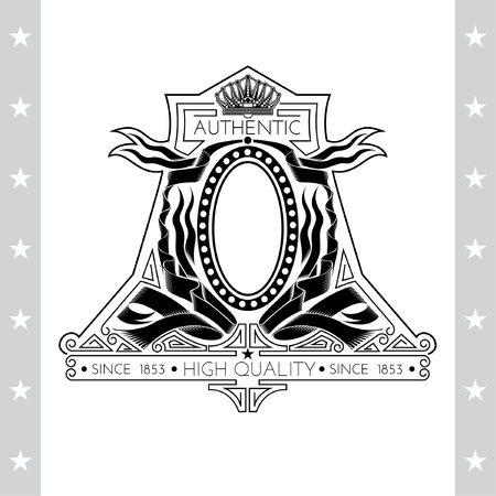 white coat: Coat of Arms With Crown And Oval Frame Between Ribbons Or Flags. Vintage Label Isolated On White Illustration