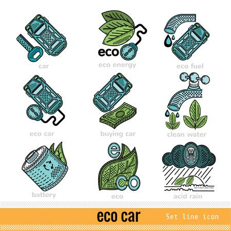 kwaśne deszcze: Set of Eco Car Outline Color Web Icons Ilustracja