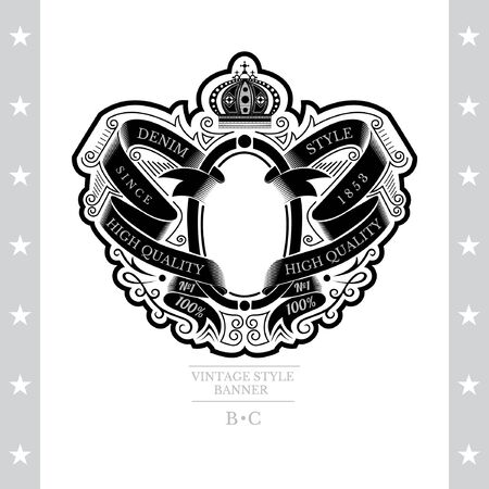 Oval Frame Between Pattern Of Winding Ribbons And Line Pattern. Vintage Label With Coat of Arms Isolated On White Vector Illustration