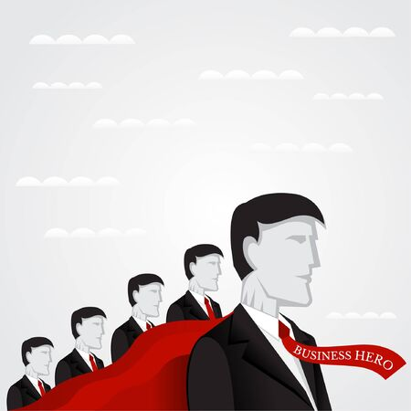 Business Flat Teamwork Illustration. Chief Hide His Team By Red Super Cloak Illustration