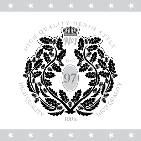white coat: Abstract Wreath From Oak Branch. Vintage Label With Coat of Arms Isolated On White