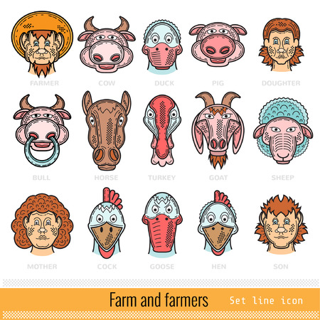 Set of Color Farmer Family and Farm Animals Outline Web Icons