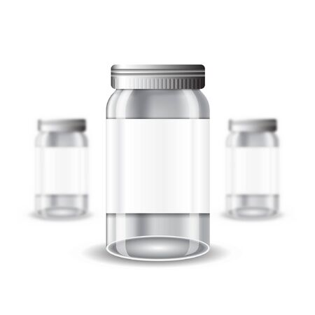 empty jar: Three realistic mock up glass or plastic empty jar on white background. Vector illustration one jar sharp and two jars depth of field Illustration