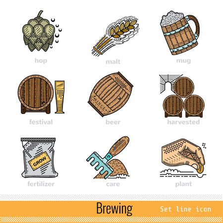 brewing: Set of All Steps of Brewing Outline Color Web Icons