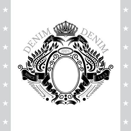 white coat: Ribbons Winding Of Oval Frame In Center And Laurel Pattern Around. Vintage Label With Coat of Arms Isolated On White