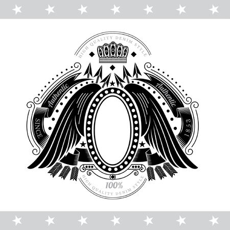 cross and wings: Oval Frame With Wings Between Cross Arrows And Winding Ribbons. Vintage Label With Coat of Arms Isolated On White Illustration