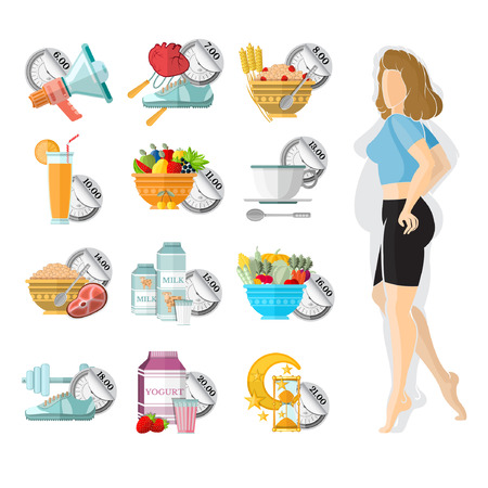 is slender: flat illustration weight loss. Slender girl with different icons of her routine day isolated on white