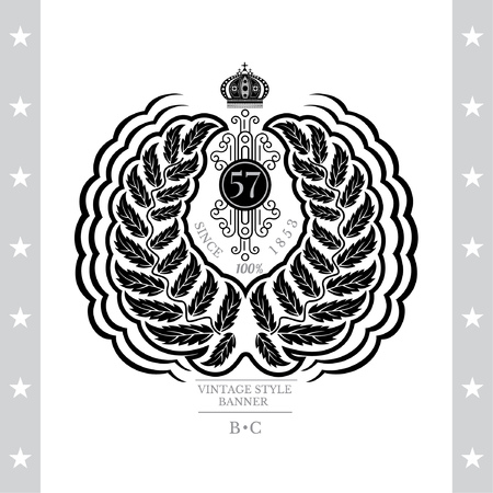 white coat: Abstract Wreath With Crown. Vintage Label With Coat of Arms Isolated On White
