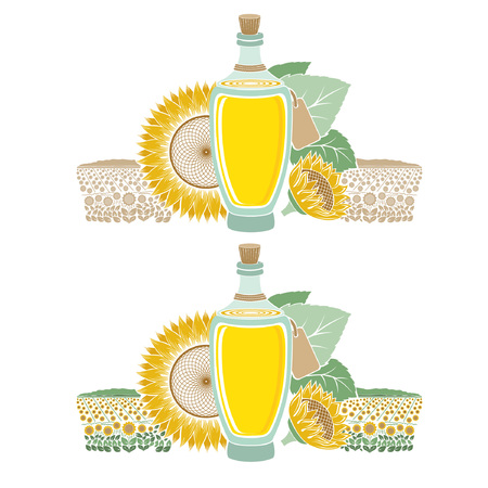 sunflower oil: Color engraving label for food or cosmetics isolated on white. Glass bottle of sunflower oil with field and flower