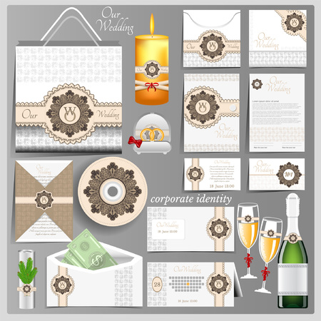 identity card: White wedding corporate identity template with brown circle pattern element. Business mock-up with logo