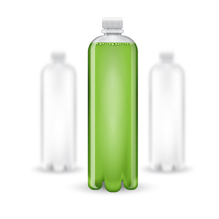 aerated: Three realistic mock up white plastic bottle with green drink on white background. Vector illustration one bottle sharp and two bottles depth of field