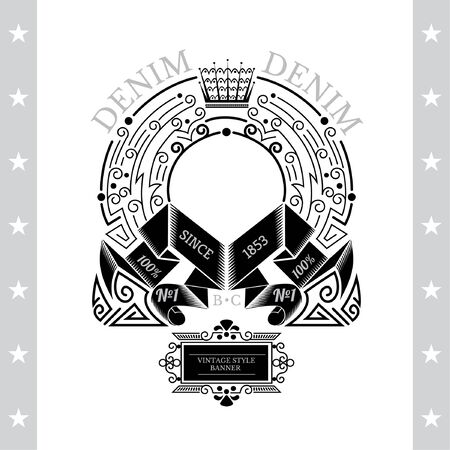 white coat: Circle Abstract Frame From Line Pattern And Winding Ribbons. Vintage Label With Coat of Arms Isolated On White Illustration