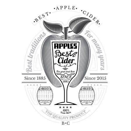 cider: Engraving style apple with wineglass for text in the center. Cider label isolated on white