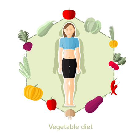 weightloss plan: flat illustration fruit diet. Slender girl with different vegetable around isolated on white